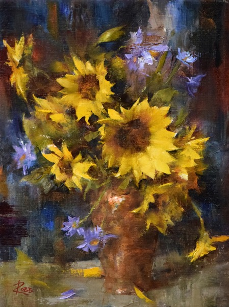 Sunflowers and Purple Asters