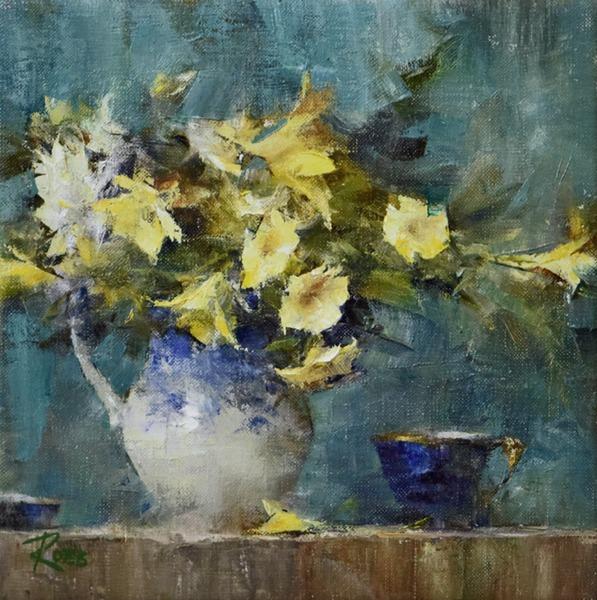 Bouquet in Flow Blue Pitcher