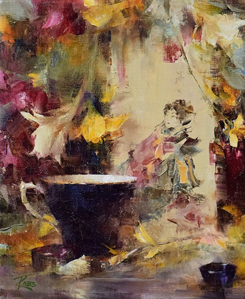 Blue Teacup and Japanese Print